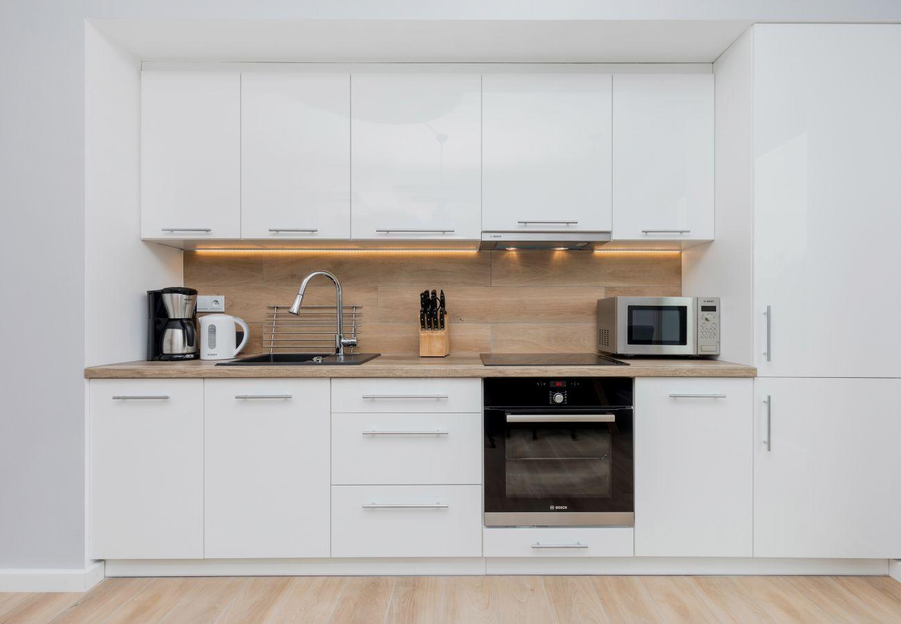 kitchen, kitchenette, oven, stove, sink, coffee machine, kettle, refrigerator, microwave, rent