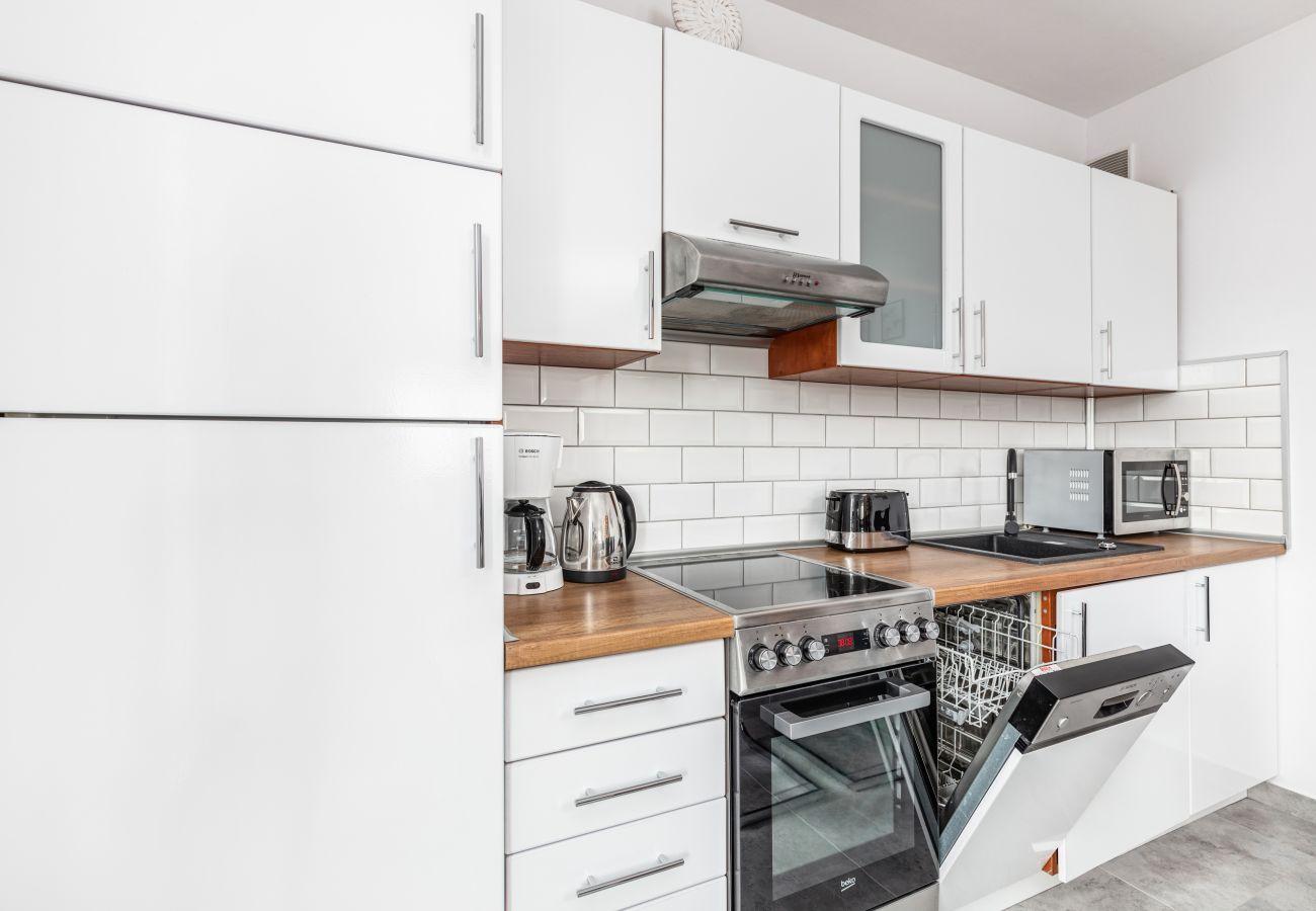 kuchnia, szafki kuchenne, lodówka, kuchenka, piekarnik, zmywarka, mikrofala, okap, toster