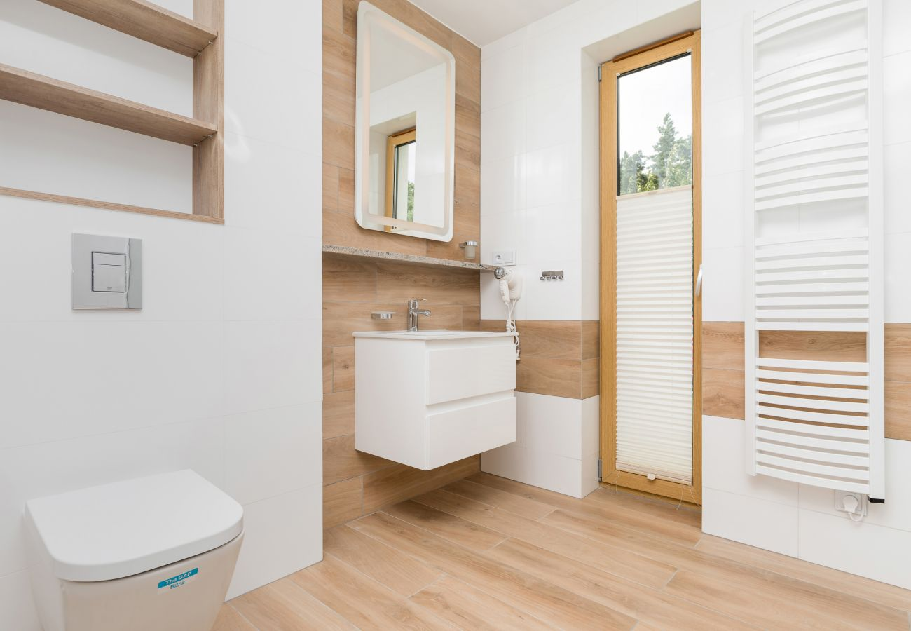 łazienka, prysznic, umywalka, lustro, toaleta, okno, wynajem