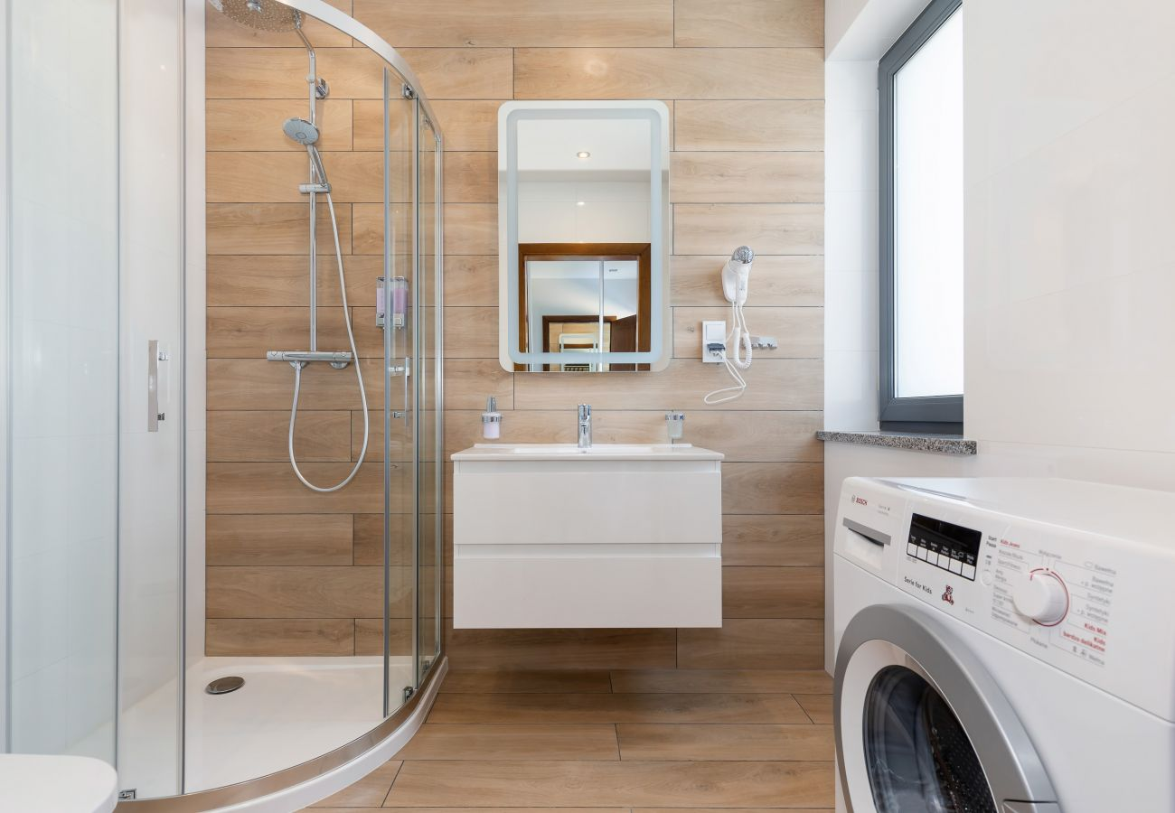 łazienka, pralka, toaleta, prysznic, umywalka, lustro, wynajem