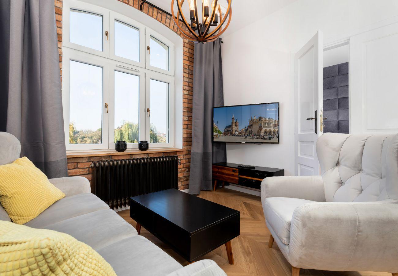 salon, stolik kawowy, sofa, telewizor, wynajem
