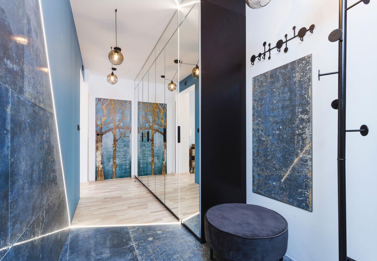 wnętrze, mieszkanie, wnętrze mieszkania, szafa, lustro, wejście, korytarz, wieszaki, wynajem