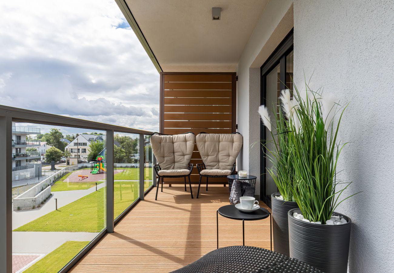 balkon, widok z balkonu, krzesła, stół, mieszkanie, na zewnątrz, wynajem, apartament